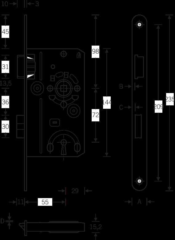 Sicherheitsschließblech ABUS SSK: Skizze