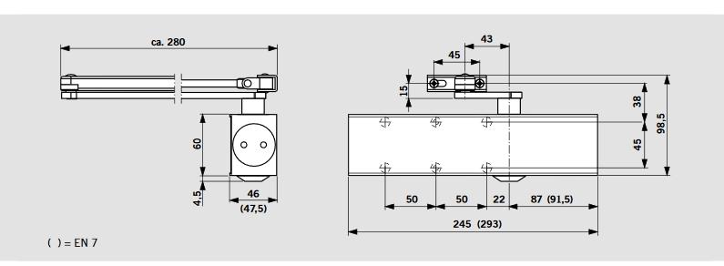 DORMA TS 83 Türschließer Maße