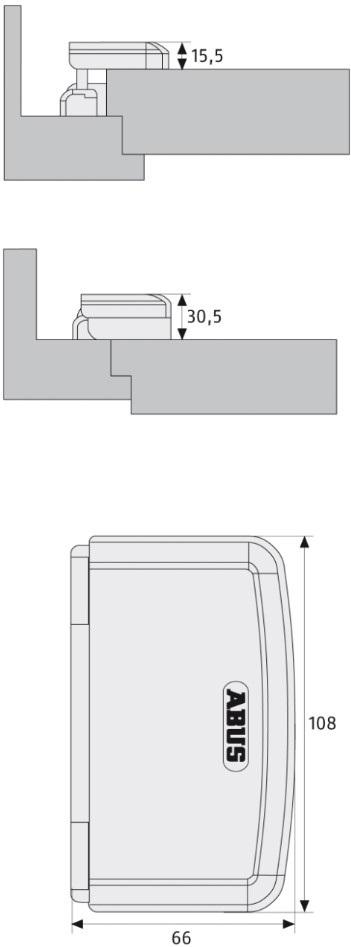 Skizze: Türaushebesicherung ABUS TAS112