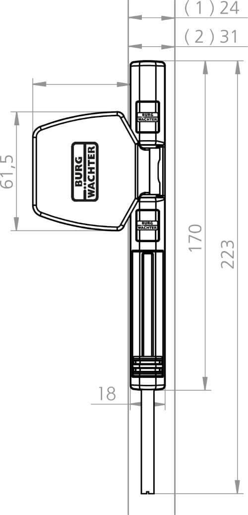Scharnierseitensicherung Burg-Wächter WinSafe WS 44: Skizze