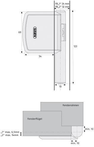 Skizze: Bandseitensicherung ABUS FAS101