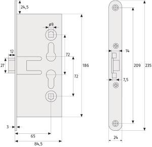Einsteckschloss ABUS EFS 65: Skizze