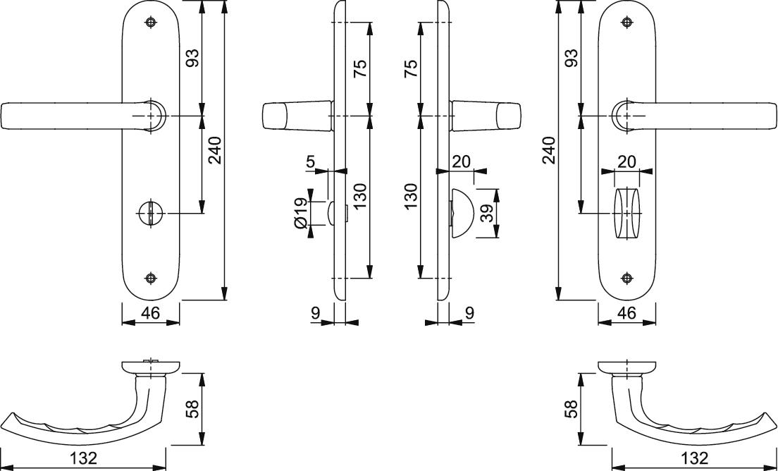 Hoppe Luxembourg Aluminium Stahl F9 Türklinke Langschild BB 199//273P