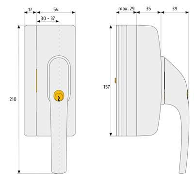 Skizze: Fenstergriff-Schloss ABUS FO400