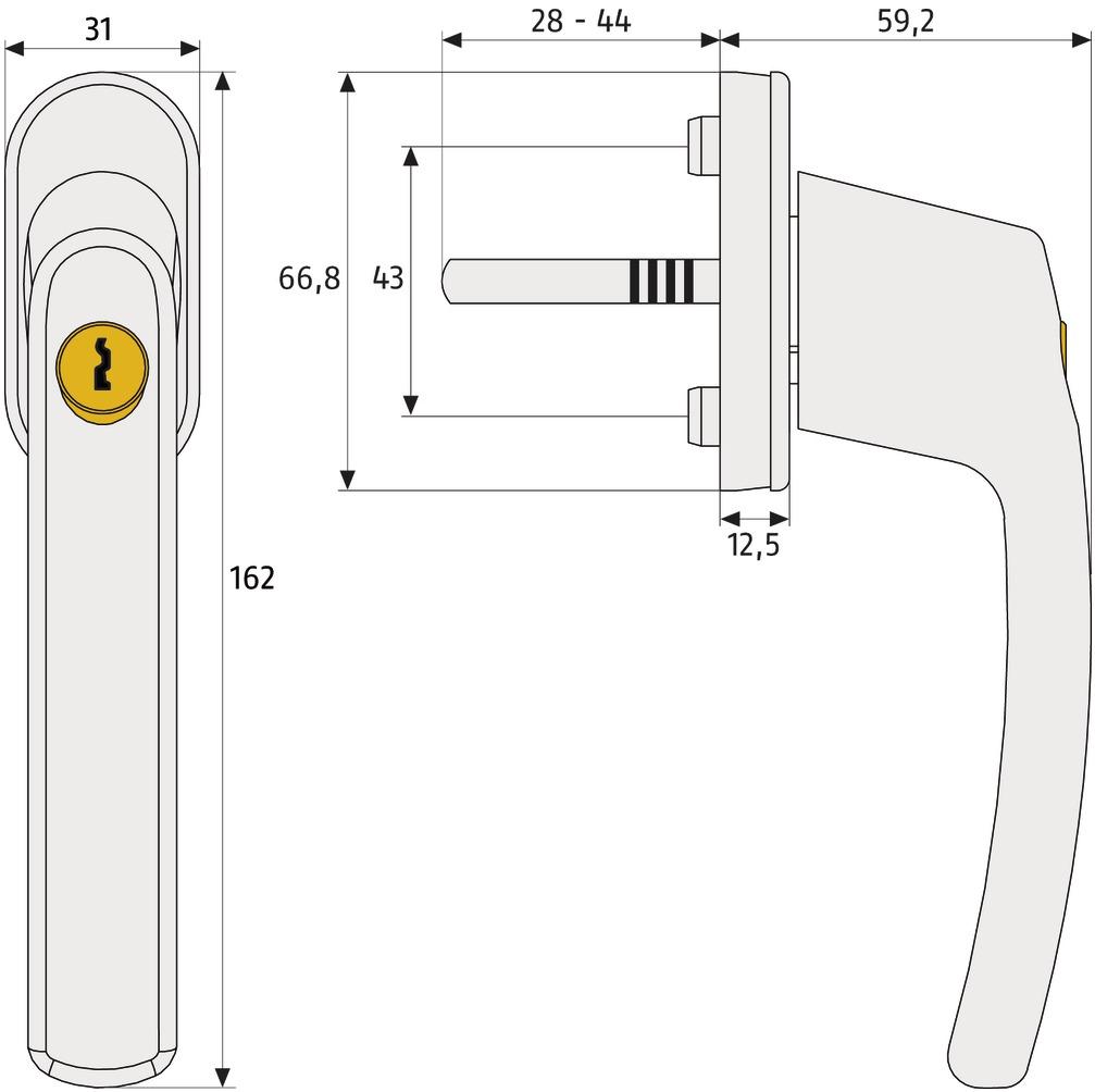 Skizze: abschließbarer Fenstergriff ABUS FG210: Maße und Technische Zeichnung