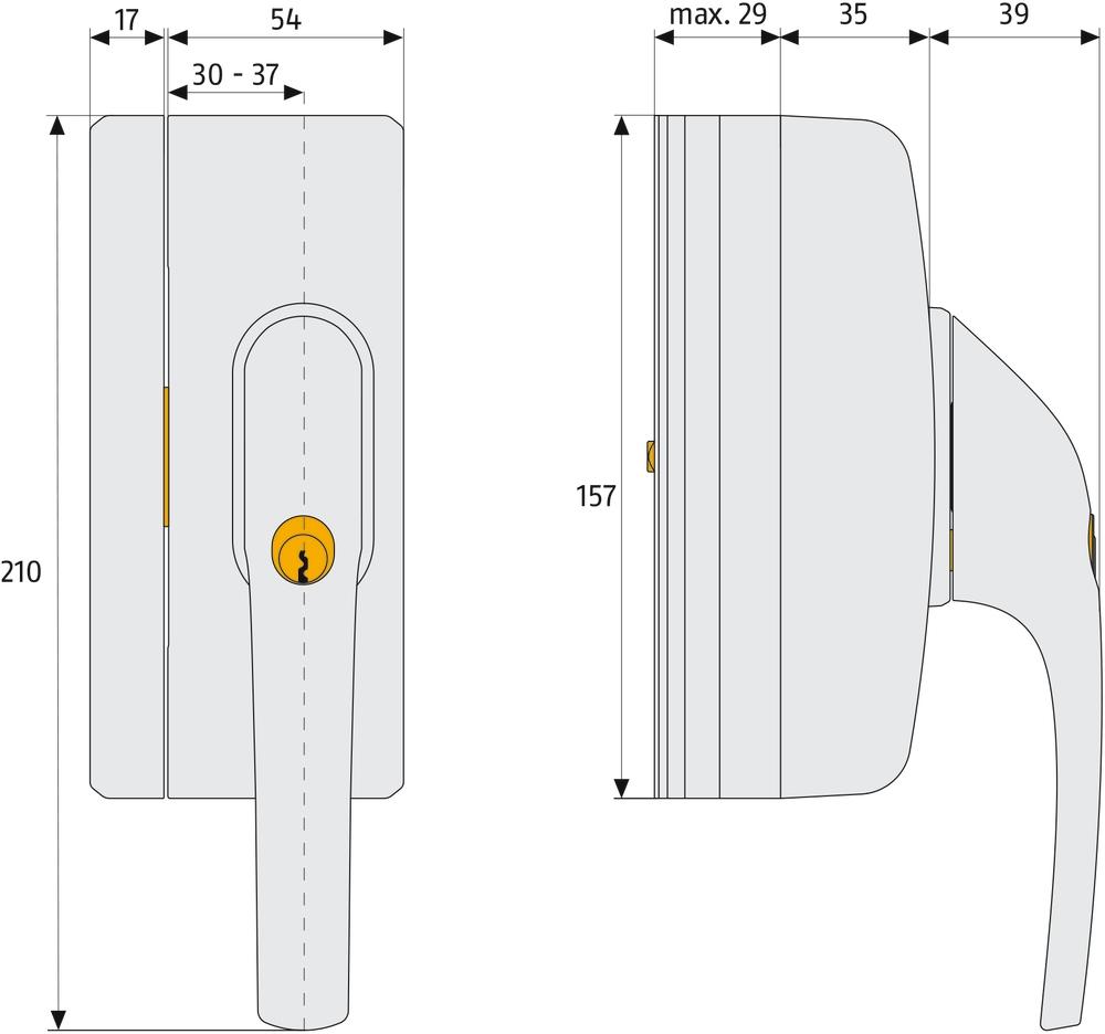 Skizze: abschließbarer Fenstergriff ABUS FG400 A