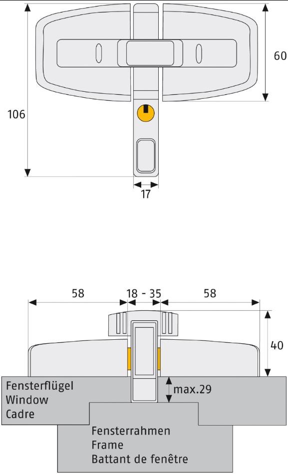 Skizze: Fenster-Zusatzschloss ABUS DFS95