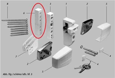 ABUS DFS95 Packungsinhalt, Anschraubstelle
