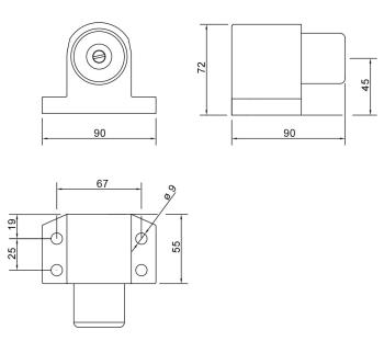 technische Zeichnung des Türfeststellers