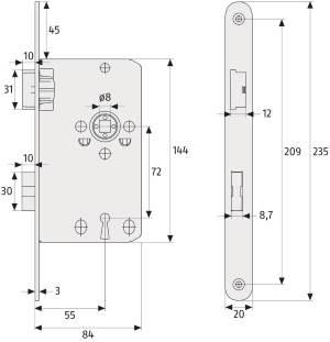 Einsteckschloss ABUS TK 10: Skizze