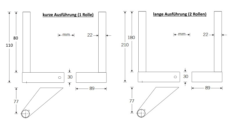 Reserve-Papierrollenhalter-Lang-Zeichnung