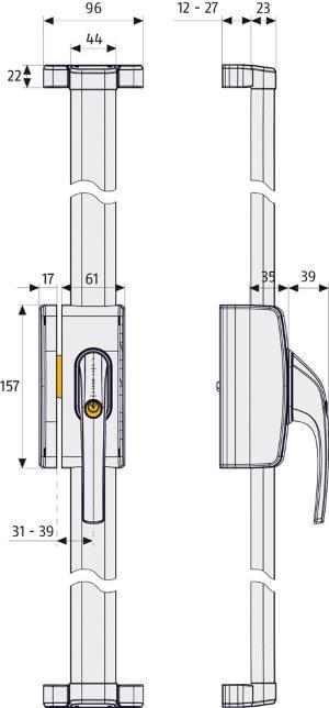 Fenster-Stangenschloss ABUS FOS 650: Skizze