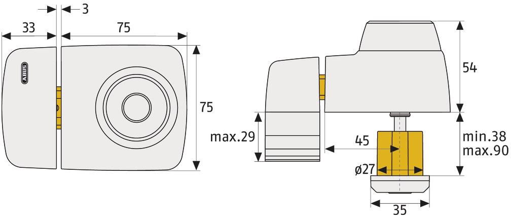Beispielbild: Tür-Zusatzschloss ABUS 7525: Skizze