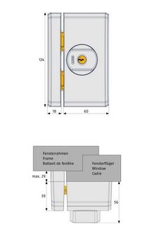 Skizze:Fenster-Zusatzschloss ABUS FTS96