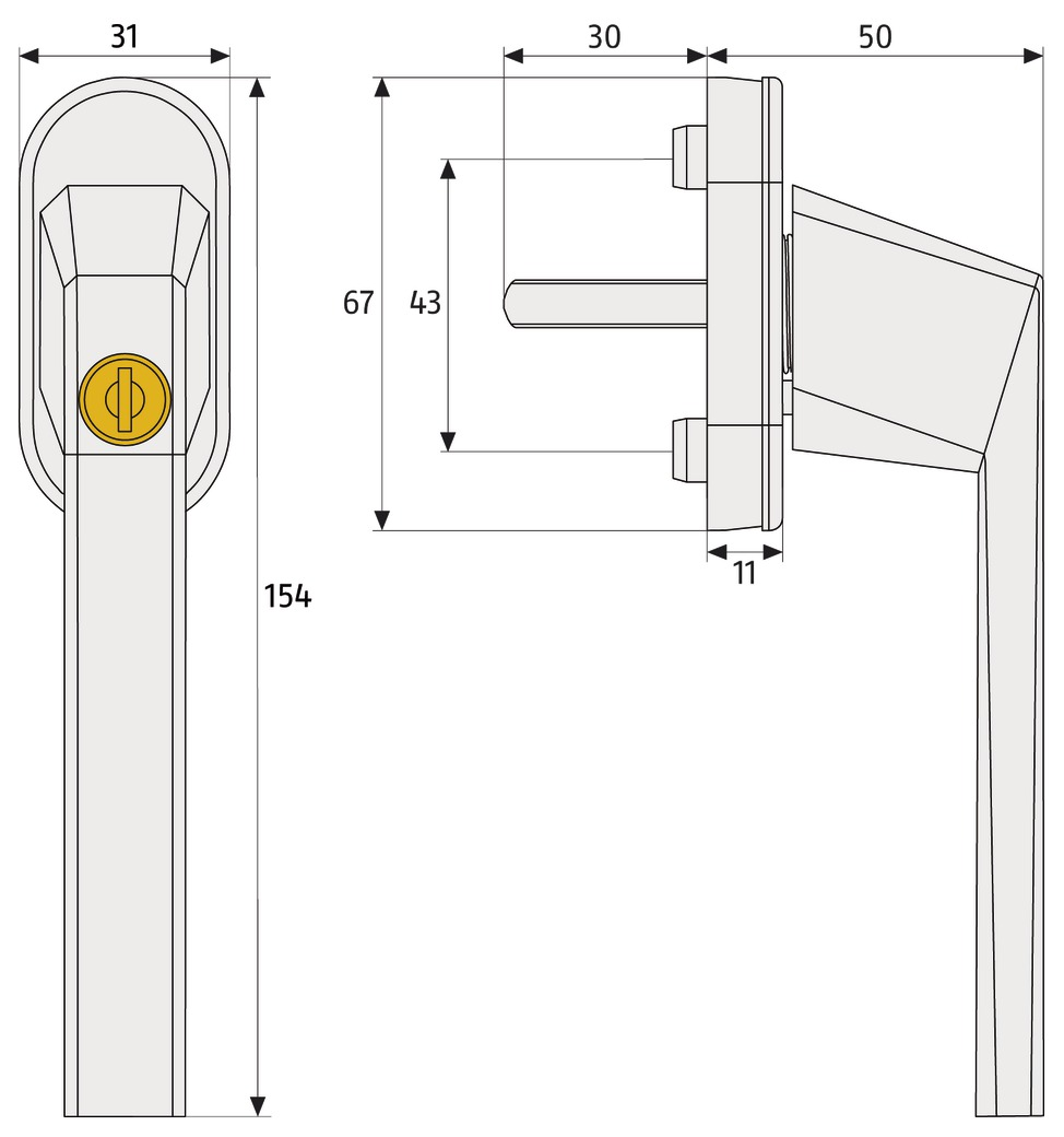 Skizze: abschließbarer Fenstergriff ABUS FG110: Maße und Technische Zeichnung