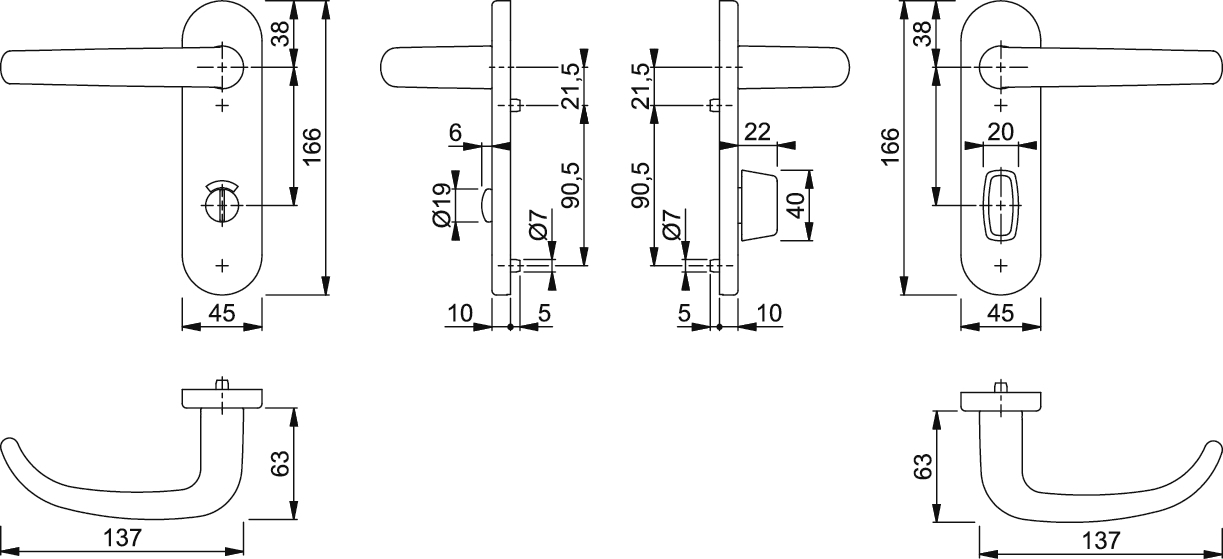 hoppe san francisco 1301 353kh kurzschild t rgriff. Black Bedroom Furniture Sets. Home Design Ideas