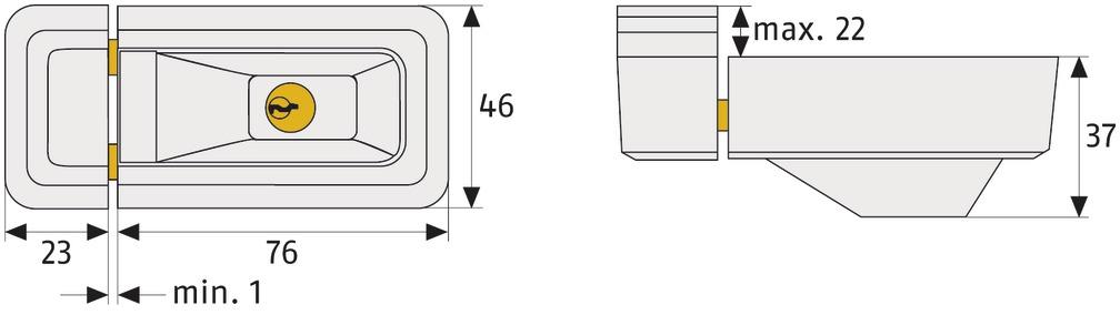 Skizze: Fenster-Zusatzschloss ABUS 3010