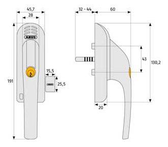 Fenstergriff fg 300a mit alarm wei din rechts neu ebay - Technische zeichnung fenster ...