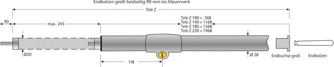 Abus tele z 140 teleskopstange 140 cm l nge wei - Technische zeichnung fenster ...